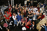 Cast member Okieriete Onaodowan with students performing during the Gilder Lehman Institute of American History Education Matinee of 'Hamilton' at the Richard Rodgers  Theatre on November 2, 2016 in New York City.
