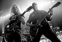 Pictured: saxon live on stage at Glasgow ABC  on the Battering Ram tour October/November 2016. <br /> Saxon are an English heavy metal band formed in 1977, in South Yorkshire. As one of the leaders of the new wave of British heavy metal, they had eight UK Top 40 albums in the 1980s including four UK Top 10 albums and two Top 5 albums. The band also had numerous singles in the UK Singles Chart and chart success all over Europe and Japan, as well as success in the US. During the 1980s Saxon established themselves as one of Europe's biggest metal acts. The band tours regularly and have sold more than 15 million albums worldwide. They are considered one of the classic metal acts and have influenced many bands such as Metallica, M&ouml;tley Cr&uuml;e, Pantera,. Andrew West/ RockingPix