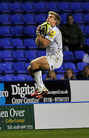 Reading, England. Charlie Amesbury of Sale Sharks takes a high ball during the LV= Cup match between London Irish and Sale Sharks at Madejski Stadium on November 11, 2012 in Reading, England.