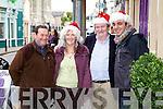 Christmas spirit takes hold in Cahersiveen pictured here l-r; Marcus Newell, Bríd O'Mahony, Noel Kelleher & T.K.Nassar.