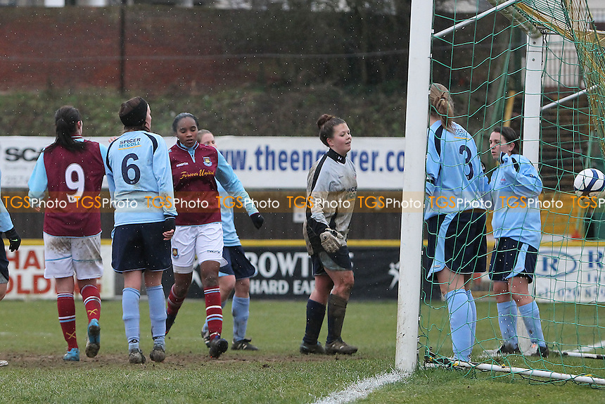 Sam Rowland scores the twelfth goal for West Ham - West Ham United Ladies vs Witham Town Ladies - Essex FA Womens Cup Quarter-Final Football at Ship Lane, Thurrock FC - 10/02/13 - MANDATORY CREDIT: Gavin Ellis/TGSPHOTO - Self billing applies where appropriate - 0845 094 6026 - contact@tgsphoto.co.uk - NO UNPAID USE.