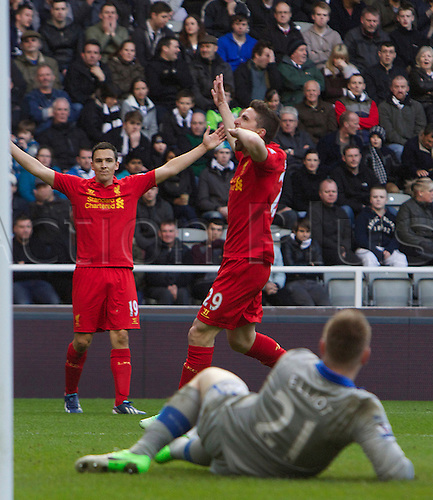 27.04.2013 Newcastle England.      Fabio Borini of Liverpool celebrates after he Scores to make it  5-0     during the English Premier league game between Newcastle United and Liverpool,  From The Sports Direct Arena, St James Park, Stadium, Newcastle.