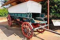 A wagon. The Voortrekker Monument is situated in Pretoria, South Africa. Built in memory of the Voortrekkers, pioneers who left the Cape Colony in the thousands between 1835 and 1854.