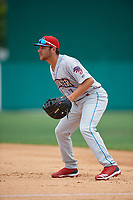 Clearwater Threshers first baseman Jake Scheiner (7) during a Florida State League game against the Dunedin Blue Jays on April 7, 2019 at Jack Russell Memorial Stadium in Clearwater, Florida.  Dunedin defeated Clearwater 2-1.  (Mike Janes/Four Seam Images)