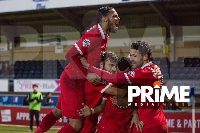 Celebrations following Calaum Jahraldo-Martin of Leyton Orient goal during the Sky Bet League 2 match between Wycombe Wanderers and Leyton Orient at Adams Park, High Wycombe, England on 23 January 2016. Photo by Massimo Martino / PRiME Media Images.
