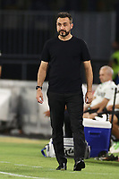 Roberto De Zerbi of coach US Sassuolo looks on<br /> during the Serie A football match between SSC  Napoli and US Sassuolo at stadio San Paolo in Naples ( Italy ), July 25th, 2020. Play resumes behind closed doors following the outbreak of the coronavirus disease. <br /> Photo Cesare Purini / Insidefoto