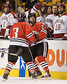 Ryan Ginand (NU - 3), Joe Santilli (NU - 7) - The Northeastern University Huskies defeated the Harvard University Crimson 3-1 in the Beanpot consolation game on Monday, February 12, 2007, at TD Banknorth Garden in Boston, Massachusetts.