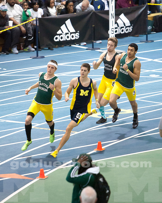 The University of Michigan men's track and field team compete at the Simmons-Harvey Invitational (non-scoring) at the Indoor Track and Field Building in Ann Arbor, Mich., on January 19, 2013.