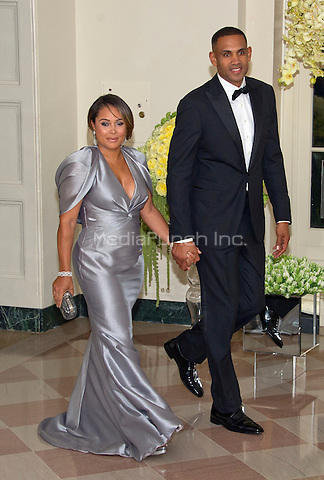 Grant Hill, Former Basketball Player, Member of The President&iacute;s Council on Fitness, Sports &amp; Nutrition and Tamia Hill arrives for the State Dinner in honor of Prime Minister Trudeau and Mrs. Sophie Gr&Egrave;goire Trudeau of Canada at the White House in Washington, DC on Thursday, March 10, 2016.<br /> Credit: Ron Sachs / Pool via CNP/MediaPunch