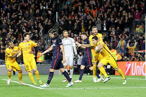 05.04.2016 Nou Camp, Barcelona, Spain. Uefa Champions League Quarter-finals 1st leg. FC Barcelona against Atletico de Madrid.  Suarez celebration after scoring his first goal