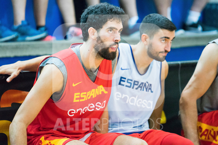 Javier Beiran and Jaime Fernandez during the training of Spanish National Team of Basketball. August 07, 2019. (ALTERPHOTOS/Francis González)