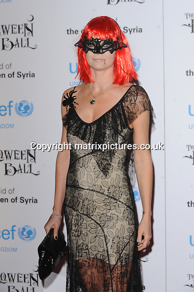 NON EXCLUSIVE PICTURE: PAUL TREADWAY / MATRIXPICTURES.CO.UK<br /> PLEASE CREDIT ALL USES<br /> <br /> WORLD RIGHTS<br /> <br /> English socialite Jemma Kidd attending the UNICEF Halloween Ball at London's One Mayfair.<br /> <br /> OCTOBER 31st 2013<br /> <br /> REF: PTY 137081
