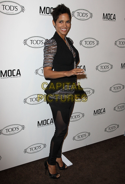 HALLE BERRY.Tod's Beverly Hills boutique Grand Opening held At Tod's Boutique, Beverly Hills, California, USA. .April 15th, 2010 .full length silver grey gray sheer puff leggings jeggings sleeve top waistcoat black vest clutch bag necklace sheer striped shiny side .CAP/ADM/KB.©Kevan Brooks/AdMedia/Capital Pictures.