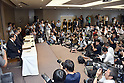 July 21, 2015, Tokyo, Japan - Toshiba President Hisao Tanaka, accompanied by two top executives, announces his resignation, taking responsibility for his part in manipulating deceptive accounting during a news conference at its headquarters in Tokyo on Tuesday, July 21, 2015. The Japanese electronics and electrical equipment group's manipulated profits add up to 1.25 billion dollars from fiscal 2008 through December 2014.  (Photo by Natsuki Sakai/AFLO) AYF -mis-
