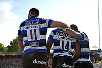 Bath Rugby players celebrate Semesa Rokoduguni's first try of the match. Aviva Premiership match, between Bath Rugby and Saracens on September 9, 2017 at the Recreation Ground in Bath, England. Photo by: Patrick Khachfe / Onside Images