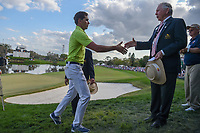 Rafael Cabrera Bello (ESP) shakes hands with the Arnold Palmer Invitational leadership following round 4 of the Arnold Palmer Invitational at Bay Hill Golf Club, Bay Hill, Florida. 3/10/2019.<br /> Picture: Golffile | Ken Murray<br /> <br /> <br /> All photo usage must carry mandatory copyright credit (© Golffile | Ken Murray)