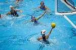 INDIANAPOLIS, IN - MAY 14: Rachel Fatal (4) of UCLA defends the ball during the Division I Women's Water Polo Championship held at the IU Natatorium-IUPUI Campus on May 14, 2017 in Indianapolis, Indiana. Stanford edges UCLA, 8-7, to win fifth women's water polo title in the past seven years. (Photo by Joe Robbins/NCAA Photos/NCAA Photos via Getty Images)