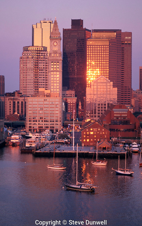 Harbor waterfront aerial sunrise, Boston, MA