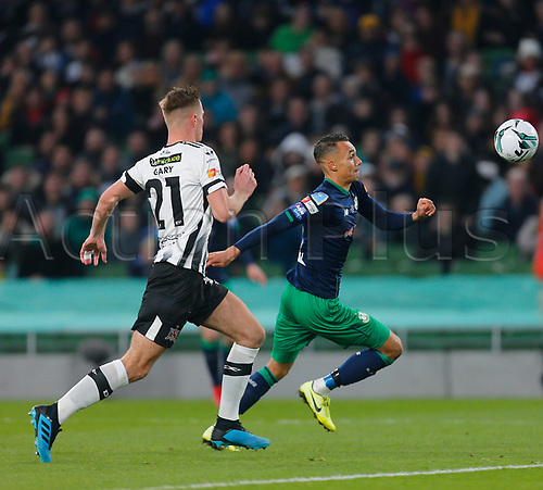 3rd November 2019; Aviva Stadium, Dublin, Leinster, Ireland; FAI Cup Final Football, Dundalk Football Club versus Shamrock Rovers; Graham Burke of Shamrock Rovers tries to make a break past Daniel Cleary of Dundalk FC - Editorial Use