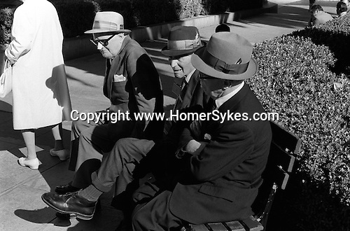 Three elderly men enjoy the sun on a bench in San Francisco California USA. 1969. Man wearing nose guard protects against the sun.
