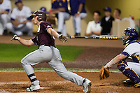 Mississippi State Bulldog outfielder Hunter Renfroe #34 at bat against the LSU Tigers during the NCAA baseball game on March 16, 2012 at Alex Box Stadium in Baton Rouge, Louisiana. LSU defeated Mississippi State 3-2 in 10 innings. (Andrew Woolley / Four Seam Images)
