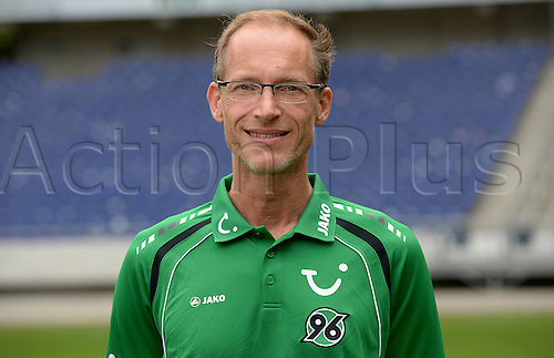 11.07.2013. Hannover, Germany.  Physiotherapist Ralf Blume of German Bundesliga club Hannover 96 during the official photocall for the season 2013-14 in the HDI Arena in Hannover (Lower Saxony).