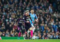 Lionel Messi of Barcelona moves away from Ilkay Gundogan of Manchester City during the UEFA Champions League match between Manchester City and Barcelona at the Etihad Stadium, Manchester, England on 1 November 2016. Photo by Andy Rowland / PRiME Media Images.