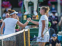 London, England, 3 th July, 2017, Tennis,  Wimbledon,  Richel Hogenkamp (NED) (R) congratulates Madison Brengle (USA) with her win<br /> Photo: Henk Koster/tennisimages.com