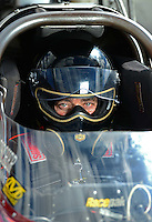 Sept 8, 2012; Clermont, IN, USA: NHRA top fuel dragster driver Scott Palmer during qualifying for the US Nationals at Lucas Oil Raceway. Mandatory Credit: Mark J. Rebilas-