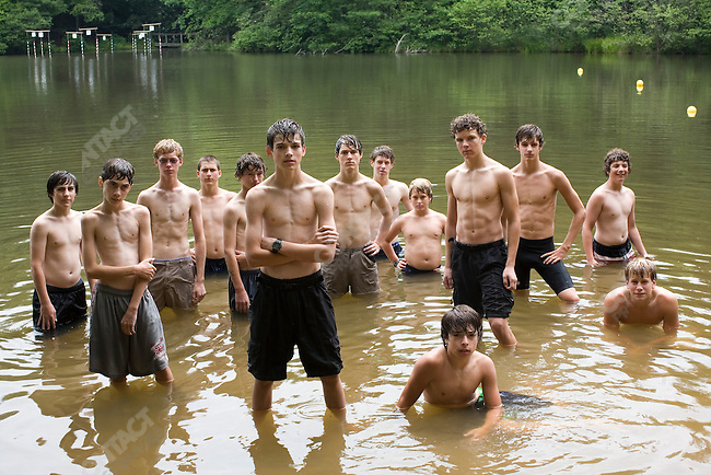 Campers at the swimming hole of Falling Creek Boys Camp. Tuxedo, North Carolina, July 7, 2007