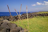 Hawaiian heiau O Kaalalea, a religious place of worship, located at the south point of the Big Island