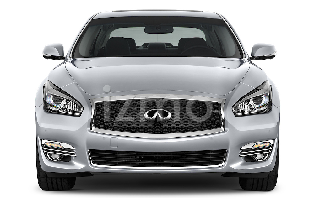Car photography straight front view of a 2015 Infiniti Q70 Base 5 Door Sedan Front View