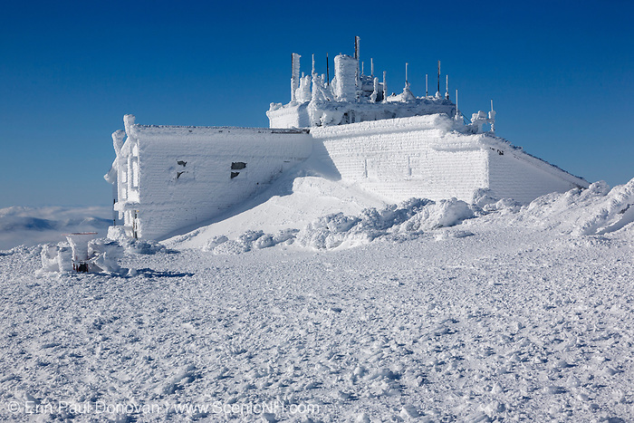 The Yankee Building on the summit of Mount Washington in the White Mountains, New Hampshire USA during the winter months.