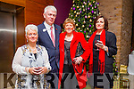 Enjoying the Recover Your Sparkle Christmas Lunch & Pampering Day in aid of Recovery Haven at Fels Point Hotel on Sunday were l-r  Dawn O'Brien Inch, Castlemaine, Kitty Daly, Tralee and Geraldine Walsh, Tralee, here with Mark Sullivan, General Manager, Fels Point Hotel