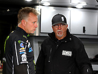 Oct 2, 2016; Mohnton, PA, USA; Crew chief Brian Husen (left) and tuner Alan Johnson for NHRA top fuel driver Brittany Force during the Dodge Nationals at Maple Grove Raceway. Mandatory Credit: Mark J. Rebilas-USA TODAY Sports