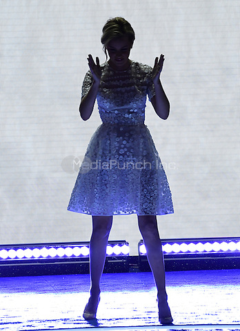 Elizabeth Banks parodies Donald Trump's arrival at last week's Republican Convention as she arrives to make remarks during the second session of the 2016 Democratic National Convention at the Wells Fargo Center in Philadelphia, Pennsylvania on Tuesday, July 26, 2016.<br /> Credit: Ron Sachs / CNP/MediaPunch<br /> (RESTRICTION: NO New York or New Jersey Newspapers or newspapers within a 75 mile radius of New York City)