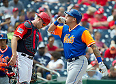 New York Mets second baseman Asdrubal Cabrera (13) celebrates his three-run home run in the first inning in the first game of a double-header against the Washington Nationals at Nationals Park in Washington, D.C. on Sunday, August 27, 2017.  Washington Nationals catcher Matt Wieters (32) looks at the ground as Carrera celebrates.<br /> Credit: Ron Sachs / CNP<br /> (RESTRICTION: NO New York or New Jersey Newspapers or newspapers within a 75 mile radius of New York City)
