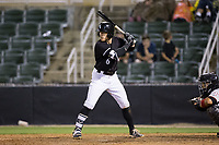 Max Dutto (6) of the Kannapolis Intimidators at bat against the Hickory Crawdads at Kannapolis Intimidators Stadium on April 22, 2017 in Kannapolis, North Carolina.  The Intimidators defeated the Crawdads 10-9 in 12 innings.  (Brian Westerholt/Four Seam Images)