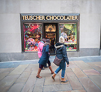 The Teuscher Chocolatier shop in Rockefeller Center in New York is seen decorated for Valentine's Day on Fridy, February 5, 2016. The Swiss company has had the store in the Channel Gardens since 1979. (© Richard B. Levine)