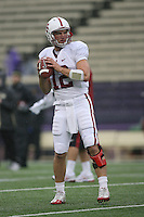 Oct 30, 20010:  Stanford quarterback #12 Andrew Luck warms up before the game against Washington.  Stanford defeated Washington 41-0 at Husky Stadium in Seattle, Washington.