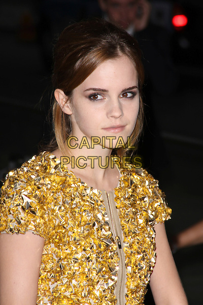 EMMA WATSON .Attending the Burberry Closing Party for London Fashion Week held at Chelsea College for Art & Design, London, England, UK, .September 22nd 2009..portrait headshot make-up hair up gold silver studded beaded embellished jewel encrusted zip .CAP/AH.©Adam Houghton/Capital Pictures.