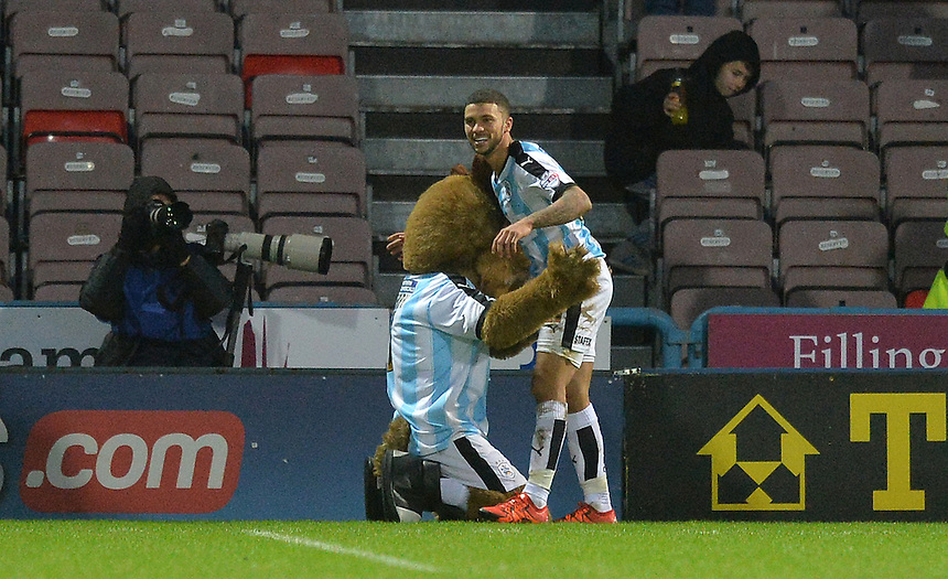 Huddersfield Town's Nahki Wells celebrates scoring his team's 2nd goal<br /> <br /> Photographer Dave Howarth/CameraSport<br /> <br /> Football - The Football League Sky Bet Championship - Huddersfield Town v Preston North End - Saturday 26th December 2015 - The John Smith's Stadium - Huddersfield<br /> <br /> &copy; CameraSport - 43 Linden Ave. Countesthorpe. Leicester. England. LE8 5PG - Tel: +44 (0) 116 277 4147 - admin@camerasport.com - www.camerasport.com