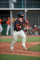 AZL Giants Black Garrett Frechette (17) runs to first base during an Arizona League game against the AZL Giants Orange on July 19, 2019 at the Giants Baseball Complex in Scottsdale, Arizona. The AZL Giants Black defeated the AZL Giants Orange 8-5. (Zachary Lucy/Four Seam Images)
