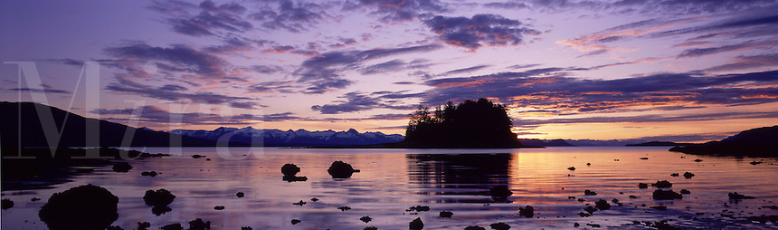 Shaman Island, center, and the distant Chilkat Mountain Range at sunset