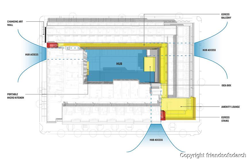 IDEA 1, San Diego's design + technology innovation hub, East Village. Final diagram of layout for IDEA 1. Caroline Kreiser, AIA.