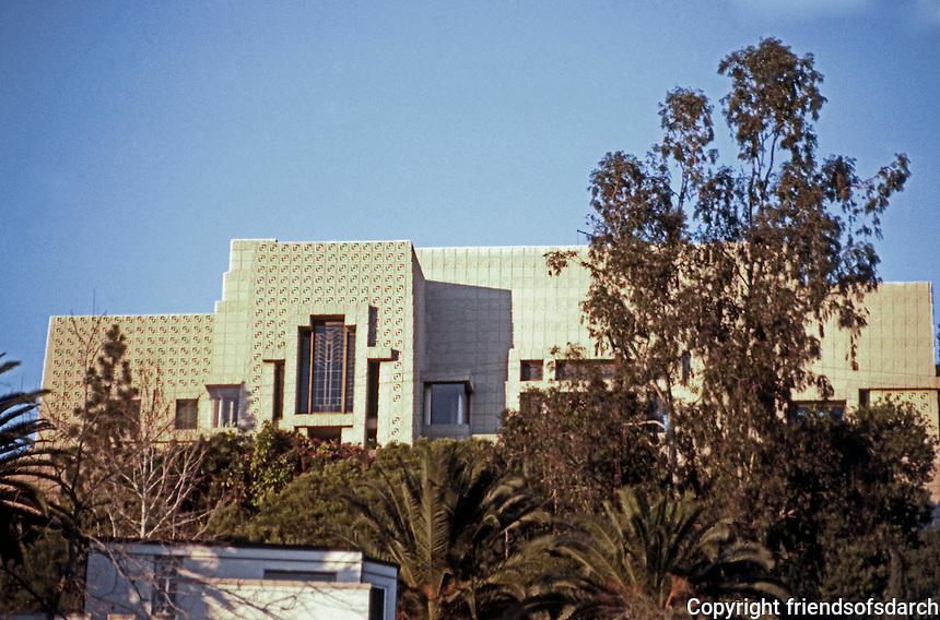 F.L. Wright: Ennis-Brown House from street below.  Photo '86.