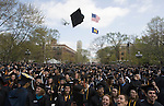 University of Michigan graduates celebrate after their spring commencement ceremony, Saturday, April 26, 2008 in Ann Arbor, Mich. It is the first time the school has held its graduation exercises on the central campus quad, known as the Diag, due to major renovations at Michigan Stadium, where the event has traditionally been held. (AP Photo/Tony Ding)