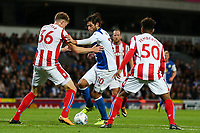 Blackburn Rovers' Danny Graham tries to go through Stoke City U23s' Harry Souttar and Tre Pemberton <br /> <br /> Photographer Andrew Kearns/CameraSport<br /> <br /> The EFL Checkatrade Trophy - Blackburn Rovers v Stoke City U23s - Tuesday 29th August 2017 - Ewood Park - Blackburn<br />  <br /> World Copyright &copy; 2018 CameraSport. All rights reserved. 43 Linden Ave. Countesthorpe. Leicester. England. LE8 5PG - Tel: +44 (0) 116 277 4147 - admin@camerasport.com - www.camerasport.com