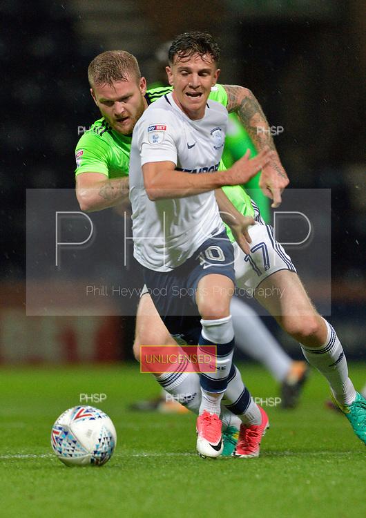 12/09/2017 Sky Bet League Championship Preston North End v Cardiff City<br /> <br /> Josh Harrop shadowed by Aron Gunnarsson