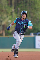 Lynchburg Hillcats infielder Sam Haggerty (1) running the bases during a game against the Myrtle Beach Pelicans at Ticketreturn Field at Pelicans Ballpark on April 15, 2017 in Myrtle Beach, South Carolina. Lynchburg defeated Myrtle Beach 5-3. (Robert Gurganus/Four Seam Images)